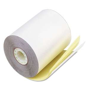 "PM COMPANY Paper Rolls, Teller Window/Financial, 3 1/4"" x 80 ft, White/Canary, 60/Carton"