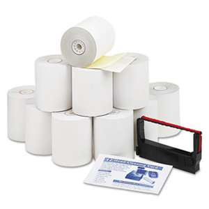 "PM COMPANY Paper Rolls, Credit Verification Kit, 3"" x 90 ft, White/Canary, 10/Carton"