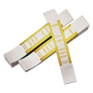 PM COMPANY Self-Adhesive Currency Straps, Mustard, $10,000 in $100 Bills, 1000 Bands/Pack