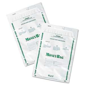 PM COMPANY Plastic Money Bags, Tamper Evident, 9 x 12, White, 50/Pack