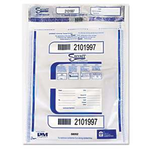 PM COMPANY Triple Protection Tamper-Evident Deposit Bags, 20 x 28, Clear, 100/Carton