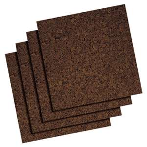 QUARTET MFG. Cork Panel Bulletin Board, Brown, 12 x 12, 4 Panels/Pack