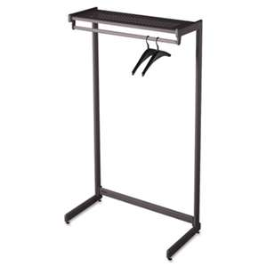 "QUARTET MFG. Single-Side Garment Rack w/Shelf, Powder Coated Textured Steel, 48"" Wide, Black"