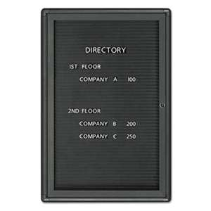 QUARTET MFG. Enclosed Magnetic Directory, 24 x 36, Black Surface, Graphite Aluminum Frame