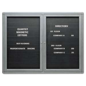 QUARTET MFG. Enclosed Magnetic Directory, 48 x 36, Black Surface, Graphite Aluminum Frame