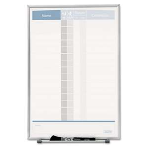 QUARTET MFG. Vertical Matrix Employee Tracking Board, 11 x 16, Aluminum Frame