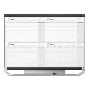 QUARTET MFG. Prestige 2 Total Erase Four-Month Calendar, 36 x 24, Graphite Color Frame