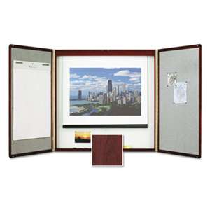 ACCO BRANDS, INC. Marker Board Cabinet with Projection Screen, 48 x 48 x 24, White/Mahogany Frame