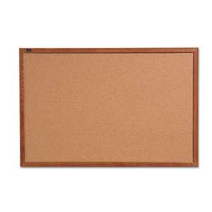 QUARTET MFG. Cork Bulletin Board, 36 x 24, Oak Finish Frame