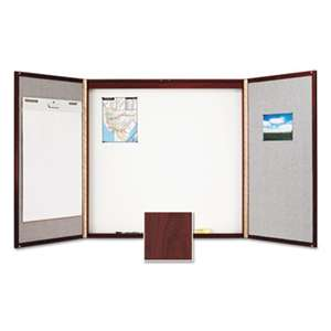 ACCO BRANDS, INC. Cabinet, Fabric/Porcelain-on-Steel, 48 x 48 x 2, Beige/White, Mahogany Frame