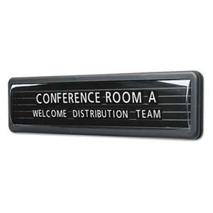 QUARTET MFG. Magnetic Nameplate, Desk/Wall/Door, Black/Dark Gray Base, 13.1 x 3