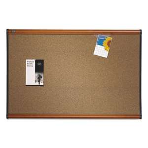 QUARTET MFG. Prestige Bulletin Board, Brown Graphite-Blend Surface, 48 x 36, Cherry Frame