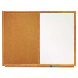 QUARTET MFG. Bulletin/Dry-Erase Board, Melamine/Cork, 48 x 36, White/Brown, Oak Finish Frame