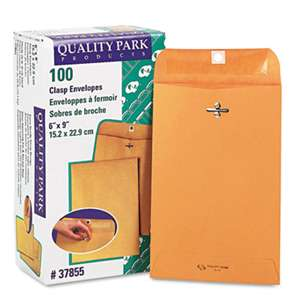 QUALITY PARK PRODUCTS Clasp Envelope, 6 x 9, 28lb, Brown Kraft, 100/Box