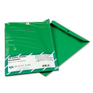 QUALITY PARK PRODUCTS Fashion Color Clasp Envelope, 9 x 12, 28lb, Green, 10/Pack