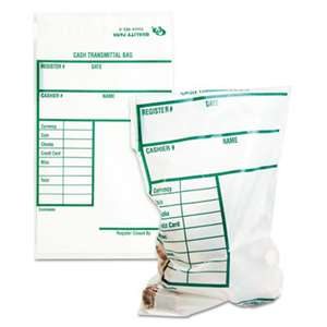 QUALITY PARK PRODUCTS Cash Transmittal Bags w/Printed Info Block, 6 x 9, Clear, 100 Bags/Pack