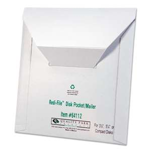 QUALITY PARK PRODUCTS Redi-File Disk Pocket Mailer, 6 x 5-7/8, Recycled, White, 10/Pack