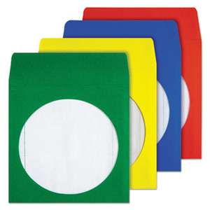 QUALITY PARK PRODUCTS Colored CD/DVD Paper Sleeves, Assorted Colors, 50/Box