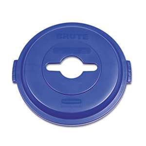 RUBBERMAID COMMERCIAL PROD. Single Stream Recycling Top for Brute 32gal Containers, Blue