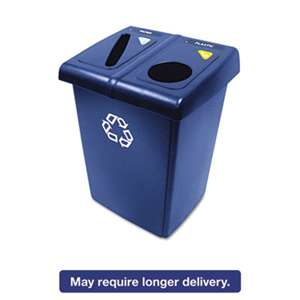 RUBBERMAID COMMERCIAL PROD. Glutton Recycling Station, Two-Stream, 46 gal, Blue