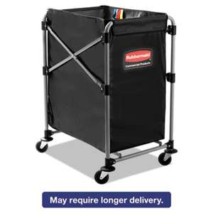 RUBBERMAID COMMERCIAL PROD. Collapsible X-Cart, Steel, Four Bushel Cart, 20 1/3w x 24 1/10d, Black/Silver