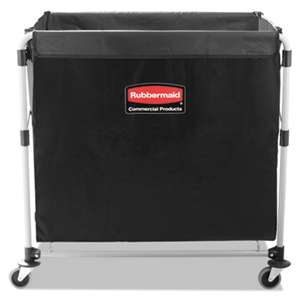 RUBBERMAID COMMERCIAL PROD. Collapsible X-Cart, Steel, Eight Bushel Cart, 24 1/10w x 35 7/10d, Black/Silver