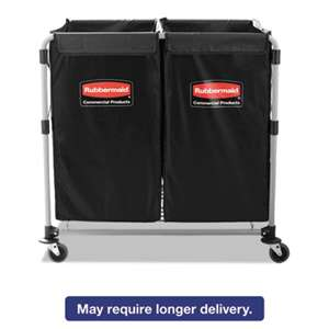 RUBBERMAID COMMERCIAL PROD. Collapsible X-Cart, Steel, 2 to 4 Bushel Cart, 24 1/10w x 35 7/10d, Black/Silver