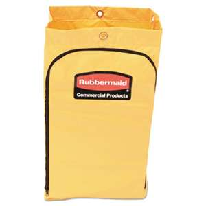 RUBBERMAID COMMERCIAL PROD. Zippered Vinyl Cleaning Cart Bag, 21gal, 17 1/4w x 10 1/2d x 30 1/2h, Yellow