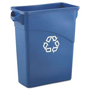 RUBBERMAID COMMERCIAL PROD. Slim Jim Recycling W/Handles, Rectangular, Plastic, 15.875gal, Blue