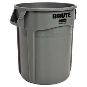 RUBBERMAID COMMERCIAL PROD. Round Brute Container, Plastic, 10 gal, Gray