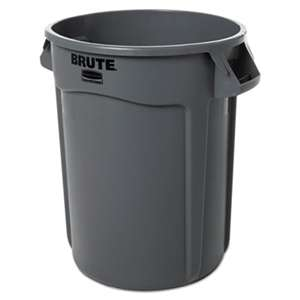 RUBBERMAID COMMERCIAL PROD. Round Brute Container, Plastic, 32 gal, Gray