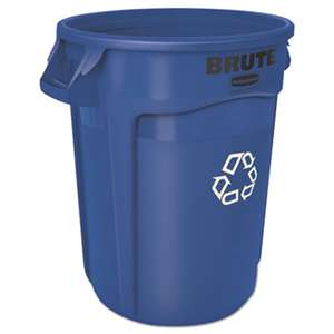 RUBBERMAID COMMERCIAL PROD. Brute Recycling Container, Round, 32 gal, Blue