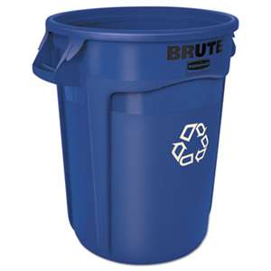 RUBBERMAID COMMERCIAL PROD. Round Brute Container, Plastic, 32 gal, Blue