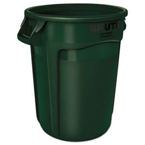 RUBBERMAID COMMERCIAL PROD. Round Brute Container, Plastic, 32 gal, Dark Green