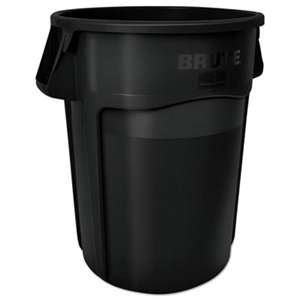 RUBBERMAID COMMERCIAL PROD. Brute Vented Trash Receptacle, Round, 44 gal, Black