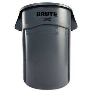 Rubbermaid Commercial 264360GY Brute Vented Trash Receptacle, Round, 44 gal, Gray