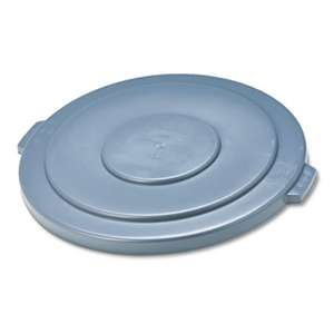 "RUBBERMAID COMMERCIAL PROD. Round Flat Top Lid, for 55-Gallon Round Brute Containers, 26 3/4"", dia., Gray"