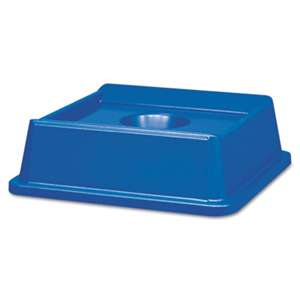 RUBBERMAID COMMERCIAL PROD. Untouchable Bottle & Can Recycling Top, Square, 20 1/8 x 20 1/8 x 6 1/4, Blue