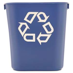 RUBBERMAID COMMERCIAL PROD. Small Deskside Recycling Container, Rectangular, Plastic, 13.625qt, Blue