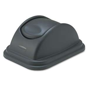 RUBBERMAID COMMERCIAL PROD. Rectangular Free-Swinging Plastic Lids, Black