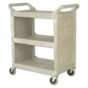 RUBBERMAID COMMERCIAL PROD. Utility Cart, 300-lb Cap, Three-Shelf, 32w x 18d x 37-1/2h, Platinum