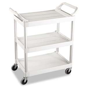 RUBBERMAID COMMERCIAL PROD. Service Cart, 200-lb Cap, Three-Shelf, 18-5/8w x 33-5/8d x 37-3/4h, Off-White