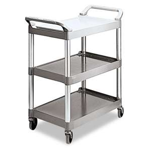 RUBBERMAID COMMERCIAL PROD. Economy Plastic Cart, Three-Shelf, 18-5/8w x 33-5/8d x 37-3/4h, Platinum