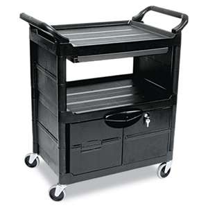 Rubbermaid Commercial 345700BLA Utility Cart With Locking Doors, Two-Shelf, 33-5/8w x 18-5/8d x 37-3/4h, Black