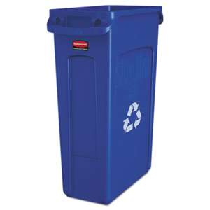 RUBBERMAID COMMERCIAL PROD. Slim Jim Recycling Container w/Venting Channels, Plastic, 23gal, Blue