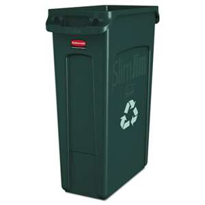 RUBBERMAID COMMERCIAL PROD. Slim Jim Recycling Container w/Venting Channels, Plastic, 23gal, Green