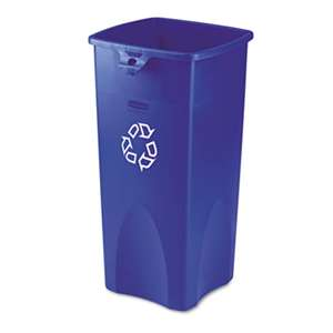 RUBBERMAID COMMERCIAL PROD. Untouchable Recycling Container, Square, Plastic, 23gal, Blue