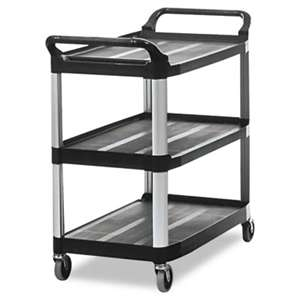 RUBBERMAID COMMERCIAL PROD. Open Sided Utility Cart, Three-Shelf, 40-5/8w x 20d x 37-13/16h, Black