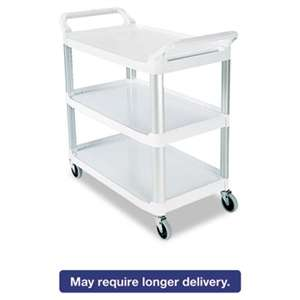 RUBBERMAID COMMERCIAL PROD. Open Sided Utility Cart, Three-Shelf, 40-5/8w x 20d x 37-13/16h, Off-White