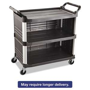 RUBBERMAID COMMERCIAL PROD. Xtra Utility Cart, 300-lb Cap, Three-Shelf, 20w x 40-5/8d x 37-4/5h, Black